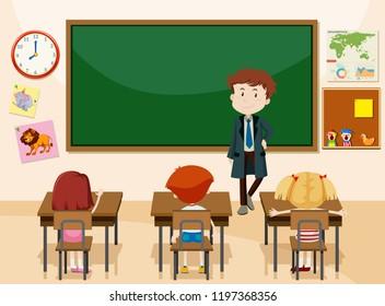 Teacher and students classroom scene illustration