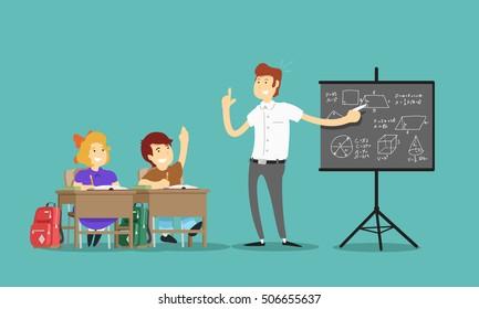 Teacher and students in school. Vector illustration.