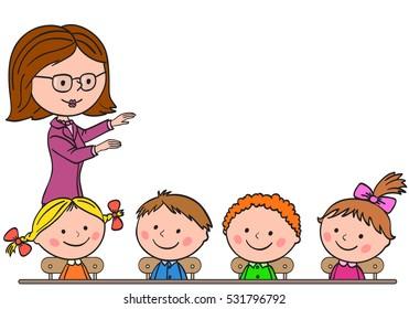 Teacher teaches children. Pupils sit at a desk and listen. Children looking up.