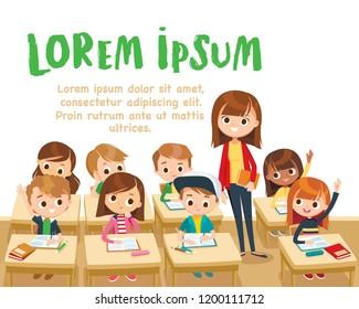 Teacher teaching children in classroom. Pupils raising hand. Teacher taking class. Back to school,