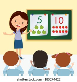 Teacher teaching in the class. Vector illustration of a cheerful teacher having lesson with school kids.