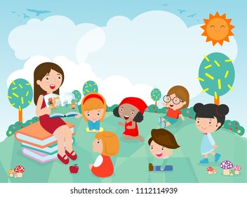 Teacher telling a story to nursery children in the garden, cute Kids Listening to Their teacher Tell a Story, teacher reading books for child in the kindergarten. Vector Illustration