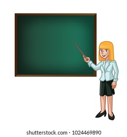 Teacher Woman Explaining with chalkboard Illustration