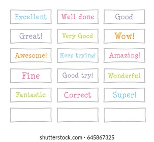 Teacher word stamps for student. Pastel vector isolated.