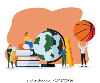 Teachers Characters with Educational Tools and Stationery as Ball Globe Books. Different Disciplines as Geography, Physical Culture, Chemistry, Literature, Language Cartoon Flat Vector Illustration