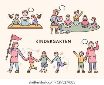 Teachers and children in kindergarten. flat design style minimal vector illustration.