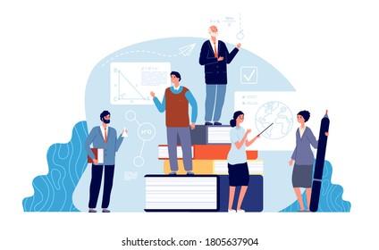 Teachers concept. Academics, school education world. Tiny professors of college. Mathematics geography chemistry teacher vector illustration