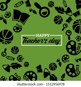 Teachers day horizontal template with school icons on green background. Vector illustration for banner, flyer, invitation, poster or greeting card.