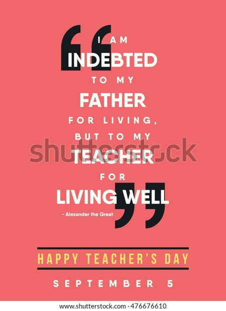 Teachers Day Quote September 5 Happy Stock Vector (Royalty