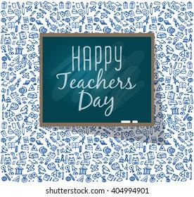Teachers day. School doodles Supplies. Composition of Hand Drawn Vector Illustration. Design Elements
