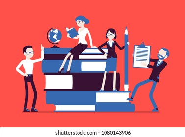 Teachers group at giant books. School or college workers with professional discipline tools, university staff poster. Science and education concept. Vector illustration, faceless characters