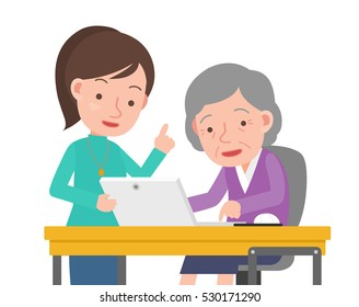 Teachers and old woman of computer learning