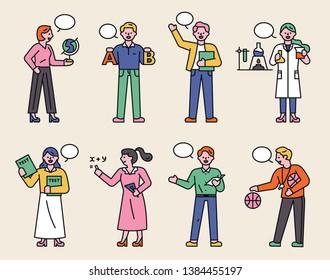 Teachers who teach various subjects. flat design style minimal vector illustration