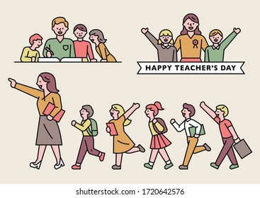 Teachers and young students. Teacher's Day. flat design style minimal vector illustration.