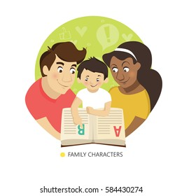 Teaching child to read. Family characters. Vector illustration.
