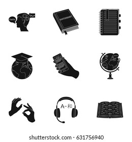 Teaching Chinese in Russia. Translation of the Chinese language.Interpreter ang translator icon in set collection on black style vector symbol stock illustration.