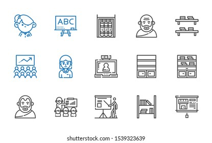 teaching icons set. Collection of teaching with presentation, bookshelf, aristotle, video call, student, class, socrates, blackboard. Editable and scalable teaching icons.