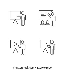 Teaching and presentations vector icons outline style