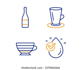 Teacup, Champagne bottle and Cappuccino icons simple set. Water drop sign. Tea or latte, Anniversary alcohol, Coffee cup. Clean aqua. Food and drink set. Linear teacup icon. Colorful design set