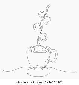 Teacup or coffee cup continuous one line. Hot drink coffee or tea with beautiful cup and stream smoke drawing one line concept vector illustration. food and drink breakfast. No convert outline stroke.