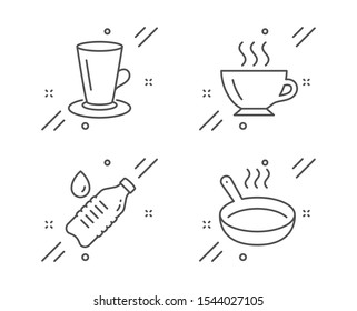 Teacup, Coffee and Water bottle line icons set. Frying pan sign. Tea or latte, Cappuccino, Still drink. Cooking utensil. Food and drink set. Line teacup outline icon. Vector