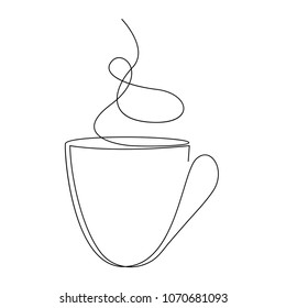 Teacup continuous line. One line tea cup vector illustration.