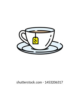 Teacup line icon. Porcelain Tea cup saucer symbol with yellow label sign. Vector illustration.