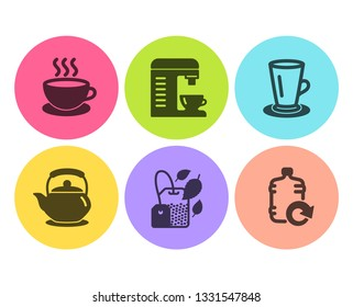 Teacup, Teapot and Cappuccino icons simple set. Coffee machine, Mint bag and Refill water signs. Tea or latte, Tea kettle. Food and drink set. Flat teacup icon. Circle button. Vector