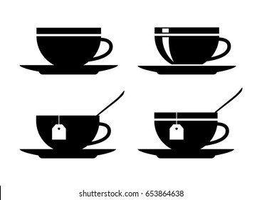 Teacup vector icons on white background