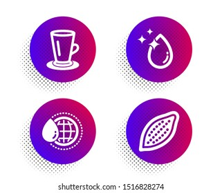 Teacup, World water and Water drop icons simple set. Halftone dots button. Cocoa nut sign. Tea or latte, Aqua drop, Crystal aqua. Vegetarian food. Food and drink set. Classic flat teacup icon. Vector