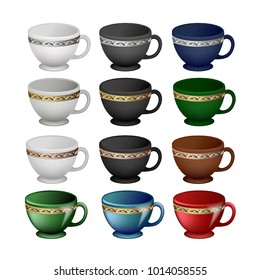 Teacups, white, black, red, green, brown and gold, silver and bronze rim, matte and glossy shiny isolated on a transparent background. Vector illustration