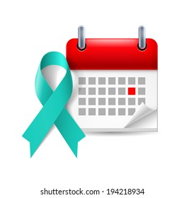 Teal awareness ribbon and calendar with marked day. Symbol of scleroderma, ovarian cancer, food allergy, tsunami victims, kidney disease, sexual assualt