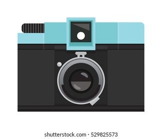 Teal and Black Analog Film Camera