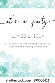 Teal Blue Watercolor Abstract Dots Party Invitation Template Vector