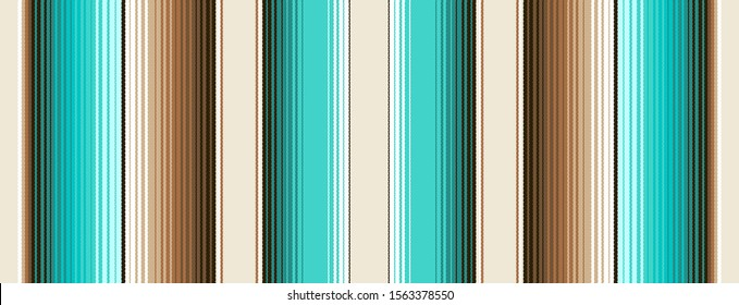 Teal, Brown and Navajo White Southwestern Blanket Stripes Seamless Vector Pattern. Mexican Serape Rug Texture with Threads. Native American Textile. Ethnic Boho Background. Tile Swatch Included.