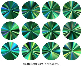 Teal green concentric metallic gradient ux button elements vector set. Isolated vibrant swatches. Button metal gradient texture backgrounds. Label backgrounds material design.