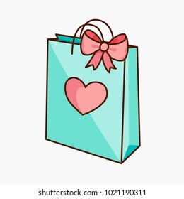 Teal green doodle gift shopping bag with pink bow and heart isolated on white background. Vector illustration