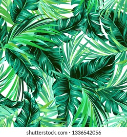 Teal and green tropical leaves. Seamless graphic design with amazing palms. Fashion, interior, wrapping, packaging suitable. Realistic palm leaves. - Vector