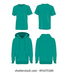 Teal hoodie and t-shirt isolated vector set