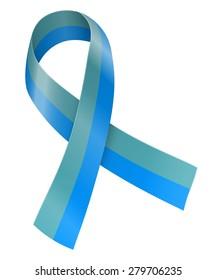 Teal and light blue ribbon. Sexual harassment awareness symbol. Vector illustration