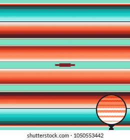 Teal, Orange & Turquoise Southwestern Blanket Stripes Seamless Vector Pattern. Serape Rug Texture with Threads. Native American Textile. Ethnic Boho Background.