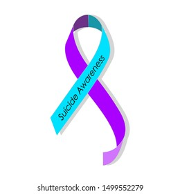 Teal purple ribbon for suicide prevention / awareness.
