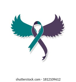 Teal purple ribbon with wings for suicide prevention and awareness. Flat style illustration. Isolated on white background.