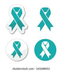 Teal ribbon - ovarian, cervical, and uterine cancers symbol