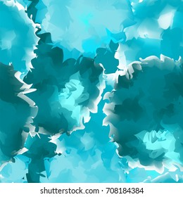 Teal seamless watercolor texture background. Bewitching abstract pattern, expressive messy vector illustration.