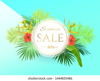 Teal summer tropical background with exotic palm leaves and hibiscus flowers. Vector floral background. Sale banner or flyer template.