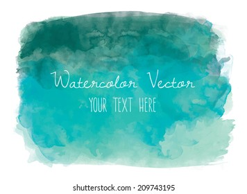 Teal Watercolor Vector Background.