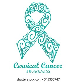 Teal / white ribbon for cervical cancer awareness campaign in January.
