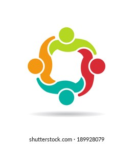 Team 4 council.Concept group of people united, social guys, partners.Vector icon