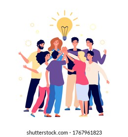 Team brainstorming. Success managers team, creative people have new idea. Office staff, managers or young business startup. Friends high five vector illustration